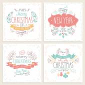 Christmas hand drawn card set. — Stock Vector
