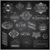 Christmas hand drawn emblems set - Chalkboard. — Stock Vector