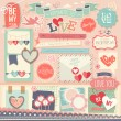 Valentines Day scrapbook set - decorative elements. — Stock Vector #63091061