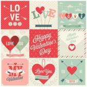 Valentines day set - emblems and cards. Vector illustration. — Stock Vector