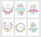 Romantic Floral hand drawn card set. — Stock Vector