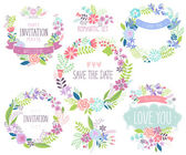 Floral hand drawn card set. — Stock Vector