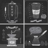 Kaffe kort - svarta tavlan stil. — Stockvektor