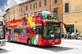 Tourist bus with passengers on street in Rome, Italy — Stock Photo