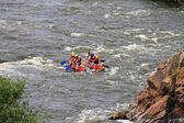 Rafting tourists with an experienced instructor on the river Sou — Photo
