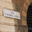 Signboard with name of the street in Verona, Italy — Stock Photo #59065677