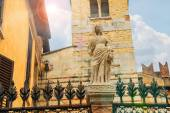 Statue on the fence around Arches Scaligero in Verona, Italy — Stockfoto