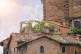 Pintoresca casa italiana con flores en la terraza — Foto de Stock