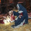 The sculptural composition on biblical themes. Christmas scene, Jesus Christ, Mary and Josef — Stock Photo #63447895
