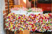 オランダの市場でのチューリップの販売. — ストック写真