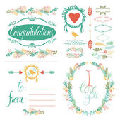 Greeting Card and design elements set — Stock Vector