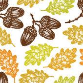 Autumn oak leaves and acorns pattern — Stock Vector