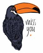 Miss you design card with tropical bird — Stock Vector