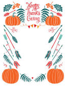 Happy Thanksgiving design card for menu or invitation — Stock Vector