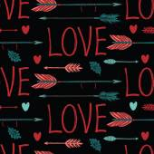 Love background with arrows and hearts — Stock Vector