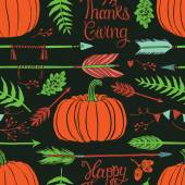 Happy ThanksGiving background with pumpkins — Stock Vector