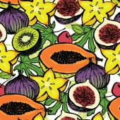Fresh fruits background — Stock Vector