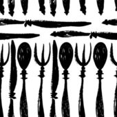 Forks, knives and spoons seamless pattern — Vettoriale Stock
