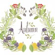 Autumn frame of leaves, twigs and apples — Stock Vector #59017683