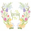 Spring Frame of flowers and leaves — Stock Vector #59017749