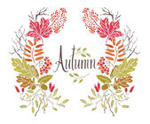 Autumn Frame of leaves and twigs — Stock Vector