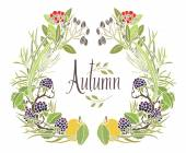 Autumn frame of leaves, twigs and apples — Stock Vector
