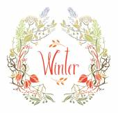 Winter Frame of leaves and twigs — Stock Vector