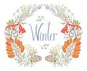 Winter frame of rowan and twigs — Stock Vector