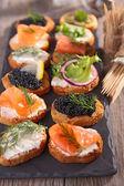 Canape, finger food — Stock Photo