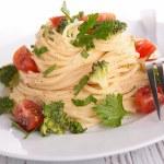 Spaghetti with broccoli and tomato — Stock Photo #56701969