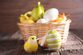 Easter eggs in backet — Stock Photo
