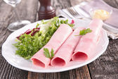 Rolled ham close up on plate — Stock Photo