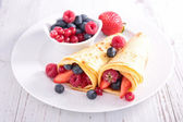Delicious crepes on plate — Stock Photo