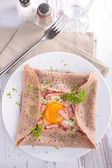 Crepe with cheese and egg — Stock Photo