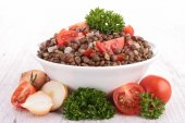 Bowl of lentils salad — Stock Photo