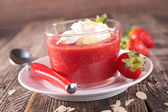Strawberry, almonds and whipped cream — Stock Photo