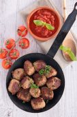 Fried meatball and tomato sauce — Stock Photo