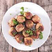 Fried meatballs on plate — Stock Photo