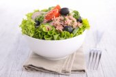 Fresh salad with vitamins in bowl — Stock Photo
