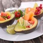 Avocado salad with salmon — Stock Photo #70985285