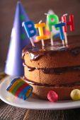 Birthday party chocolate cake — Stock Photo