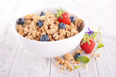 Granola with blueberry and strawberry — Stock Photo