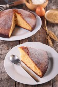 Homemade cake with sliced portion — Stock Photo