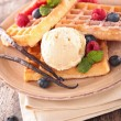 Waffle, ice cream and berry fruit — Stock Photo #77518128