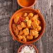 Curry chicken with sauce and rice — Stock Photo #79037076
