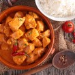 Curry chicken with sauce and rice — Stock Photo #79040778