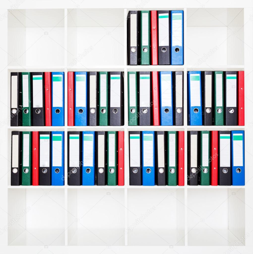 File folders, standing on the shelves at office — Stock Photo ...