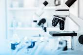Modern microscopes in a lab .microscope lens — Stock Photo