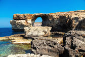 Azure Window, famous stone arch of Gozo island in the sun in summer, Malta — Stock Photo