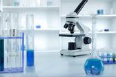 Laboratory microscope lens.modern microscopes in a lab. — Stock Photo